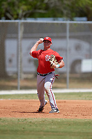 Washington Nationals Sheldon Neuse (17) throws to first base during a minor league Spring Training game against the St. Louis Cardinals on March 27, 2017 at the Roger Dean Stadium Complex in Jupiter, Florida.  (Mike Janes/Four Seam Images)