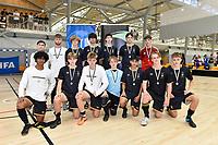 Wellington College pose after winning second place in the Futsal NZ Secondary Schools Senior Boys Final between Wellington College and Tauranga Boys' College at ASB Sports Centre, Wellington on 26 March 2021.<br /> Copyright photo: Masanori Udagawa /  www.photosport.nz