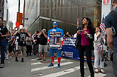 New  York, New York<br /> September 10, 2011<br /> <br /> Views of Ground Zero on the eve of the 10th anniversary of 9-11-2001. Protesters an conspiracy theorists at the entrance to the subway at West Broadway and Vesey Street.