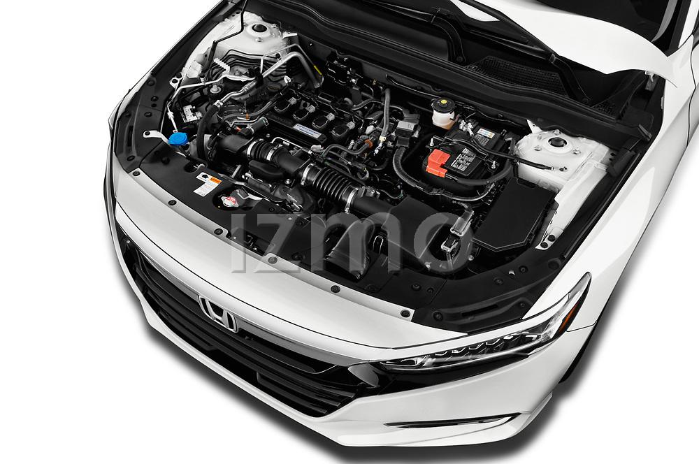 Car stock 2018 Honda Accord EX 4 Door Sedan engine high angle detail view