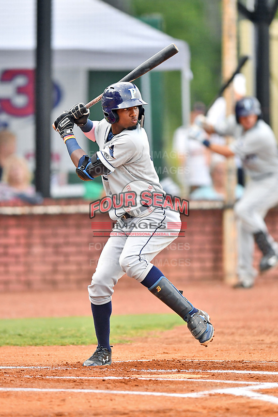 Princeton Rays designated hitter Osmy Gregorio (3) at bat during game two of the Appalachian League Championship Series against the Elizabethton Twins at Joe O'Brien Field on September 5, 2018 in Elizabethton, Tennessee. The Twins defeated the Rays 2-1 to win the Appalachian League Championship. (Tony Farlow/Four Seam Images)