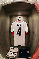 GUADALAJARA, MEXICO - MARCH 24: The locker of Justen Glad #4 of the United States before a game between Mexico and USMNT U-23 at Estadio Jalisco on March 24, 2021 in Guadalajara, Mexico.