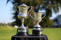 Mens and Women's trophies during the finals of the New Zealand Amateur Golf Championship, Poverty Bay Golf Course, Awapuni Links, Gisborne, Sunday 25 October 2020. Photo: Simon Watts/www.bwmedia.co.nz