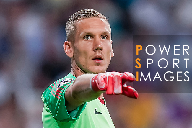 Goalkeeper Robin Olsen of Roma gestures during the UEFA Champions League 2018-19 match between Real Madrid and Roma at Estadio Santiago Bernabeu on September 19 2018 in Madrid, Spain. Photo by Diego Souto / Power Sport Images