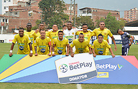 ITAGÜÍ - COLOMBIA, 07-03-2020: Jugadores de Leones posan para una foto previo al encuentro entre Leones F.C. y Atlético F.C. por la fecha 6 del Torneo BetPlay DIMAYOR I 2020 jugado en el estadio Polideportivo Sur de Envigado. / Players of Leones pose to a photo prior the match between Leones F.C. and Atletico F.C. between Leones F.C. and Atletico F.C. for the date 6 of the BetPlay DIMAYOR Tournament I 2020 played at Polideportivo Sur stadiim in Envigado city.  Photo: VizzorImage / Leon Monsalve / Cont