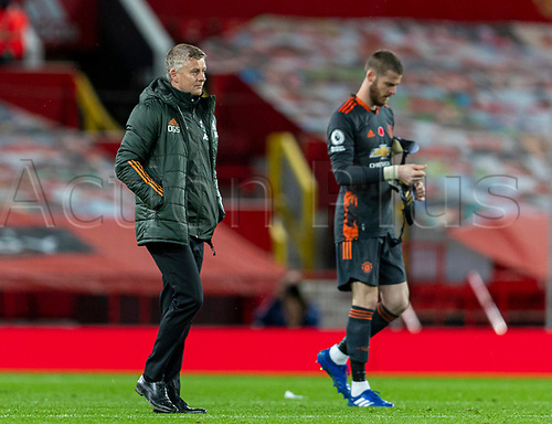 1st November 2020, Old Trafford, Manchester, England;  Manchester Uniteds manager Ole Gunnar Solskjar walks off the pitch frustrated after the English Premier League match between Manchester United FC and Arsenal FC at Old Trafford