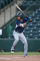 AZL Padres 2 shortstop Tucupita Marcano (1) at bat during an Arizona League game against the AZL Angels at Tempe Diablo Stadium on July 18, 2018 in Tempe, Arizona. The AZL Padres 2 defeated the AZL Angels 8-1. (Zachary Lucy/Four Seam Images)