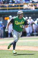 Josh Graham #18 of the Oregon Ducks runs to first base during a game against the UCLA Bruins at Jackie Robinson Stadium on May 18, 2014 in Los Angeles, California. Oregon defeated UCLA, 5-4. (Larry Goren/Four Seam Images)