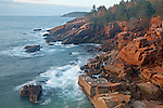 View of rugged granite coastline along the Park Loop Road in Acadia National Park, Maine, USA