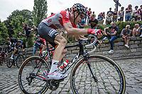 Tim Wellens (BEL/Lotto Soudal) and later stage winner Jasper Stuyven (BEL/Trek Segafredo) up the infamous Kapelmuur (muur van Geraardsbergen)<br /> <br /> Binckbank Tour 2017 (UCI World Tour)<br /> Stage 7: Essen (BE) > Geraardsbergen (BE) 191km