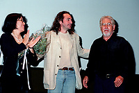 Montreal (QC)CANADA - File Photo- August 29 1996-<br /> Claude Gagnon (M) and his wife (L) with Gilles Carle for the premiere of PUDDING CHOMEUR at the Montreal World Film Festival.