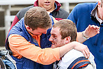 Illinois Fighting Illini quarterback Reilly O'Toole (4) and friends console each other after the Heart of Dallas Bowl Bowl game between the Illinois Fighting Illini and the Louisiana Tech Bulldogs at the Cotton Bowl Stadium in Dallas, Texas. Louisiana defeats Illinois 35 to 18.