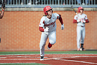Eric Cole (8) of the Arkansas Razorbacks starts down the first base line against the Charlotte 49ers at Hayes Stadium on March 21, 2018 in Charlotte, North Carolina.  The 49ers defeated the Razorbacks 6-3.  (Brian Westerholt/Four Seam Images)