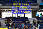 Placards to support the Refugees during Liga Endesa ACB at Barclays Center in Madrid, October 11, 2015.<br /> (ALTERPHOTOS/BorjaB.Hojas)
