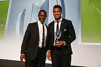 LONDON, ENGLAND - NOVEMBER 01:  Julian Savea (R) of New Zealand receives the World Rugby Try of the Year award from Serge Betsen (R) during the World Rugby Awards 2015 at Battersea Evolution on November 1, 2015 in London, England.  (Photo: World Rugby)