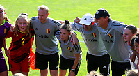 Captain Tinne Broeckaert (2) of Belgium, team manager Bram Demeur, Head coach Audrey Demoustier of Belgium, Assistant coach Luc Bosmans of Belgium and goalkeeper coach Frank Verwimp of Belgium pictured at the huddle before  an international friendly female soccer game between the national teams of Belgium , called the Red Flames U17 and the Netherlands on Wednesday 8th of September 2020  in Kalmthout , Belgium . PHOTO SPORTPIX.BE | SPP | SEVIL OKTEM