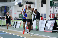 WINSTON-SALEM, NC - FEBRUARY 08: Evan Simmons #5 of Wake Forest University wins his heat in the Men's 400 Meters at JDL Fast Track on February 08, 2020 in Winston-Salem, North Carolina.