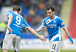 St Johnstone v Partick Thistle…13.05.17     SPFL    McDiarmid Park<br />Danny Swanson gets a well done from Steven MacLean as he is subbed<br />Picture by Graeme Hart.<br />Copyright Perthshire Picture Agency<br />Tel: 01738 623350  Mobile: 07990 594431