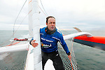 Thomas Coville and the trimaran Sodebo rallied Brest on Friday 14 January, where they will set off for another record attempt around the world alone.