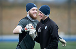 St Johnstone Training….29.01.19    McDiarmid Park<br />Keeper Zander Clark pictured during training ahead of tomorrow's game at Celtic with Ross Sinclair<br />Picture by Graeme Hart.<br />Copyright Perthshire Picture Agency<br />Tel: 01738 623350  Mobile: 07990 594431