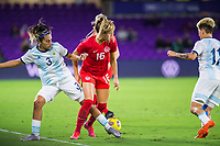 ORLANDO, FL - FEBRUARY 21: Janine Beckie #16 of the CANWNT battles for the ball during a game between Argentina and Canada at Exploria Stadium on February 21, 2021 in Orlando, Florida.