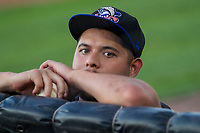 Biloxi Shuckers pitcher Luis Ortiz (22) during a Southern League game against the Jackson Generals on July 27, 2018 at The Ballpark at Jackson in Jackson, Tennessee. Biloxi defeated Jackson 15-7. (Brad Krause/Four Seam Images)
