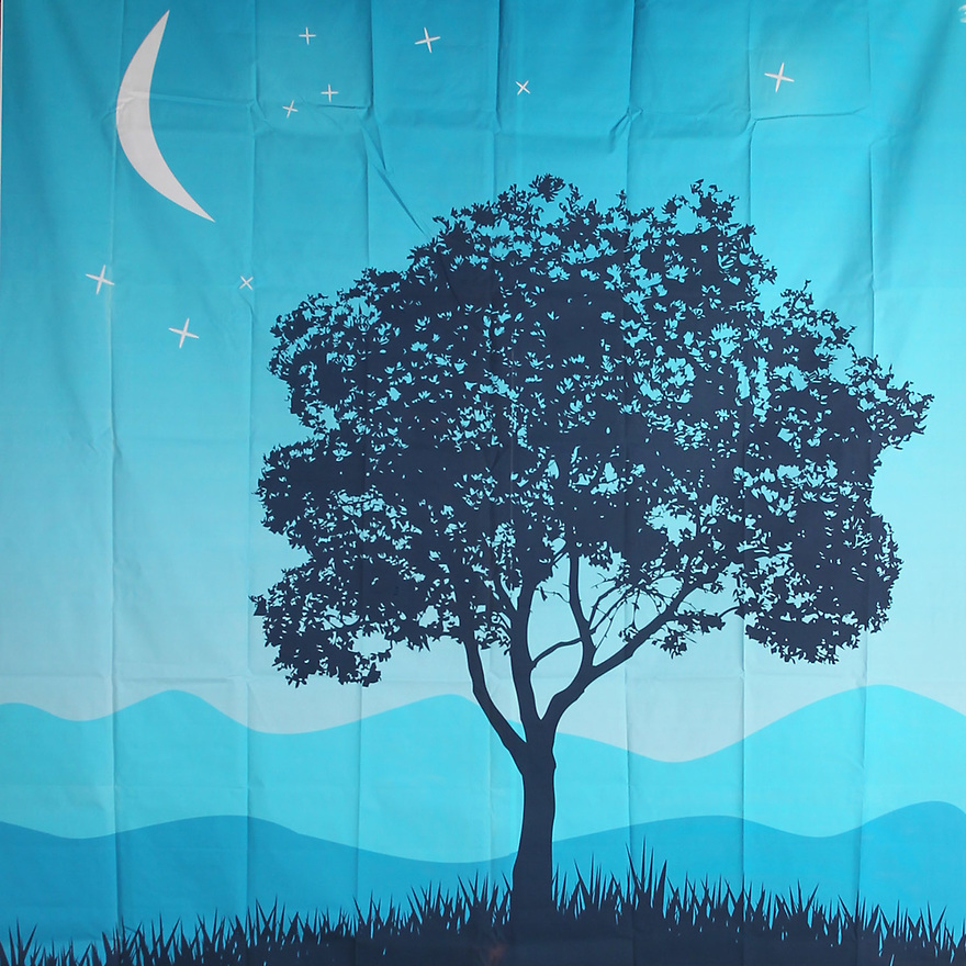 Backdrop featuring blue night sky, large white crescent moon, and large dark tree silhouette