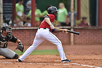Elizabethton Twins shortstop Nick Gordon #9 squares to bunt during a game against the  Bristol Pirates at Joe O'Brien Field June 30, 2014 in Elizabethton, Tennessee. The Twins defeated the Pirates 8-5 in game one of a double header. (Tony Farlow/Four Seam Images)