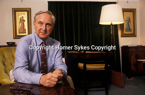 Sir Crispin Tickell portrait a former diplomat leading environmental authority at home in his London flat 1990s