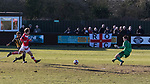 Rushall Olympic 1 Workingon 0, 17/02/2018. Dales Lane, Northern Premier League Premier Division. Goal scored by Danny Waldron of Rushall. Photo by Paul Thompson. Rushall Olympic 1 Workingon 0, Northern Premier League Premier Division, 17th February 2018. Rushall is a former mining village now part of the northern suburbs of Walsall.