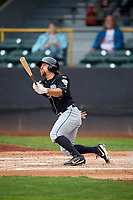 Lansing Lugnuts left fielder Nick Sinay (3) follows through on a swing during a game against the Clinton LumberKings on May 9, 2017 at Ashford University Field in Clinton, Iowa.  Lansing defeated Clinton 11-6.  (Mike Janes/Four Seam Images)