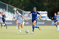 CARY, NC - SEPTEMBER 12: Lynn Williams #9 of the NC Courage dribbles the ball during a game between Portland Thorns FC and North Carolina Courage at WakeMed Soccer Park on September 12, 2021 in Cary, North Carolina.