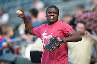 "Actor Antonio ""Tony"" Todd warms up prior to throwing out a ceremonial first pitch prior to the International League game between the Columbus Clippers and the Charlotte Knights at BB&T BallPark on May 3, 2016 in Charlotte, North Carolina.  The Clippers defeated the Knights 8-3.  (Brian Westerholt/Four Seam Images)"