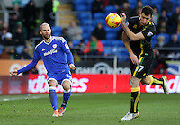 Matthew Connolly of Cardiff City crosses the ball into the box past Yanic Wildschut of Norwich City during the Sky Bet Championship match between Cardiff City and Norwich City at Cardiff City Stadium, Wales, UK. Saturday, 04 February 2017