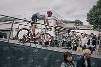 Markel Irizar (ESP/Trek-Segafredo) descending the sign-on podium one last time at the last stage start of the 104th Tour de France 2017 in Montgeron<br /> <br /> Stage 21 - Montgeron › Paris (105km)