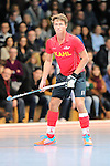 Mannheim, Germany, January 18: During the 1. Bundesliga Herren Hallensaison 2014/15 Sued hockey match between Mannheimer HC (blue) and TSV Mannheim (red) on January 18, 2015 at Irma-Roechling-Halle in Mannheim, Germany. Final score 4-6 (4-4). (Photo by Dirk Markgraf / www.265-images.com) *** Local caption *** Paul Kaufmann #11 of TSV Mannheim