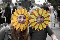 Mother & Son Wearing Sunflower Headpieces, Fremont Solstice Parade & Festival, Seattle, WA, USA.