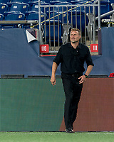 FOXBOROUGH, MA - AUGUST 21: Richmond Kickers coach Darren Sawatzky during a game between Richmond Kickers and New England Revolution II at Gillette Stadium on August 21, 2020 in Foxborough, Massachusetts.