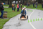 Competitors racing their home made go-karts at a Boxing Day soapbox race in Swansea, South Wales..