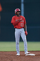 AZL Angels Trent Deveaux (17) celebrates after hitting a double during a game against the AZL Giants Orange at Giants Baseball Complex on June 17, 2019 in Scottsdale, Arizona. AZL Giants Orange defeated AZL Angels 8-4. (Zachary Lucy/Four Seam Images)
