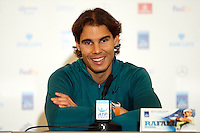 Rafa Nadal is interviewed during a media day at the Barclays ATP World Tour Finals at The O2 centre, North Greenwich, London.