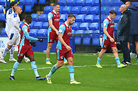 Dejected Scunthorpe players after losing 2-0 during the Sky Bet League 2 match between Tranmere Rovers and Scunthorpe United at Prenton Park, Birkenhead, England on 3 October 2020. Photo by Chris Donnelly/MI News /PRiME Media Images