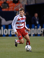 FC Dallas defender Greg Vanney pushes the ball upfield. The Colorado Rapids drew 0-0 with FC Dallas in the first game of the Western Conference Semi-finals Invesco Field at Mile High, Denver, Colorado, September 22, 2005.