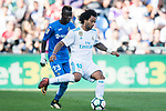 Marcelo Vieira da Silva Junior of Real Madrid (R) fights for the ball with Amath Ndiaye Diedhiou of Getafe CF (L) during the La Liga 2017-18 match between Getafe CF and Real Madrid at Coliseum Alfonso Perez on 14 October 2017 in Getafe, Spain. Photo by Diego Gonzalez / Power Sport Images