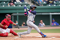 Shortstop Ronny Mauricio (2) of the Brooklyn Cyclones during a game against the Greenville Drive on Friday, May 14, 2021, at Fluor Field at the West End in Greenville, South Carolina. The catcher is Kole Cottam (9). (Tom Priddy/Four Seam Images)