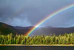 Rainbow over coastal landscape, Moresby Island, Gwaii Haanas National Park Reserve, Haida Gwaii/Queen Charlotte Islands, British Columbia, Canada