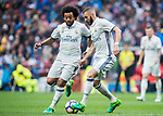 Karim Benzema (r) and Marcelo Vieira Da Silva of Real Madrid in action during their La Liga match between Real Madrid and Valencia CF at the Santiago Bernabeu Stadium on 29 April 2017 in Madrid, Spain. Photo by Diego Gonzalez Souto / Power Sport Images