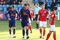 Blackpool's Ethan Robson (left) and Gary Madine<br /> <br /> Photographer Rich Linley/CameraSport<br /> <br /> The EFL Sky Bet League One - Crewe Alexandra v Blackpool - Saturday 17th October 2020 - Gresty Road - Crewe<br /> <br /> World Copyright © 2020 CameraSport. All rights reserved. 43 Linden Ave. Countesthorpe. Leicester. England. LE8 5PG - Tel: +44 (0) 116 277 4147 - admin@camerasport.com - www.camerasport.com