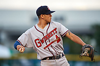 Gwinnett Braves third baseman Rio Ruiz (14) warmup throw to first base during a game against the Buffalo Bisons on August 19, 2017 at Coca-Cola Field in Buffalo, New York.  Gwinnett defeated Buffalo 1-0.  (Mike Janes/Four Seam Images)