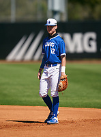 IMG Academy Ascenders first baseman Blaydon Plain (12) during a game against the Lakeland Dreadnaughts on February 20, 2021 at IMG Academy in Bradenton, Florida.  (Mike Janes/Four Seam Images)